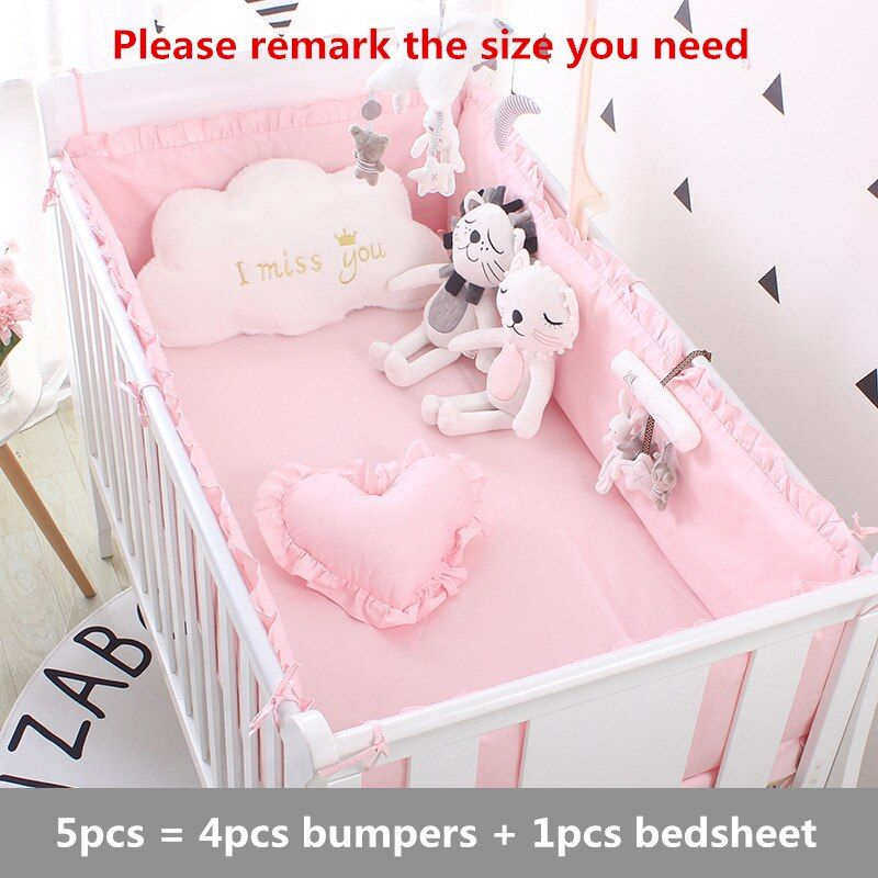 Ensemble de literie 5Pcs Baby Crib Bébé ensembles bébé nouveau-né Garçon Fille pare-chocs oreiller Tapis