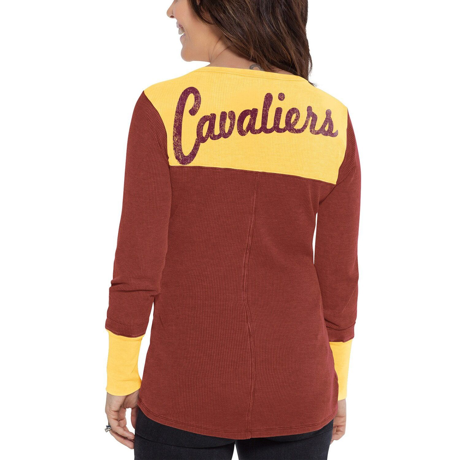 Women S G Iii Sports By Carl Banks Wine Gold Cleveland Cavaliers Blindside Long Sleeve Thermal T Shirt Sports Cleveland Cavaliers Nba League