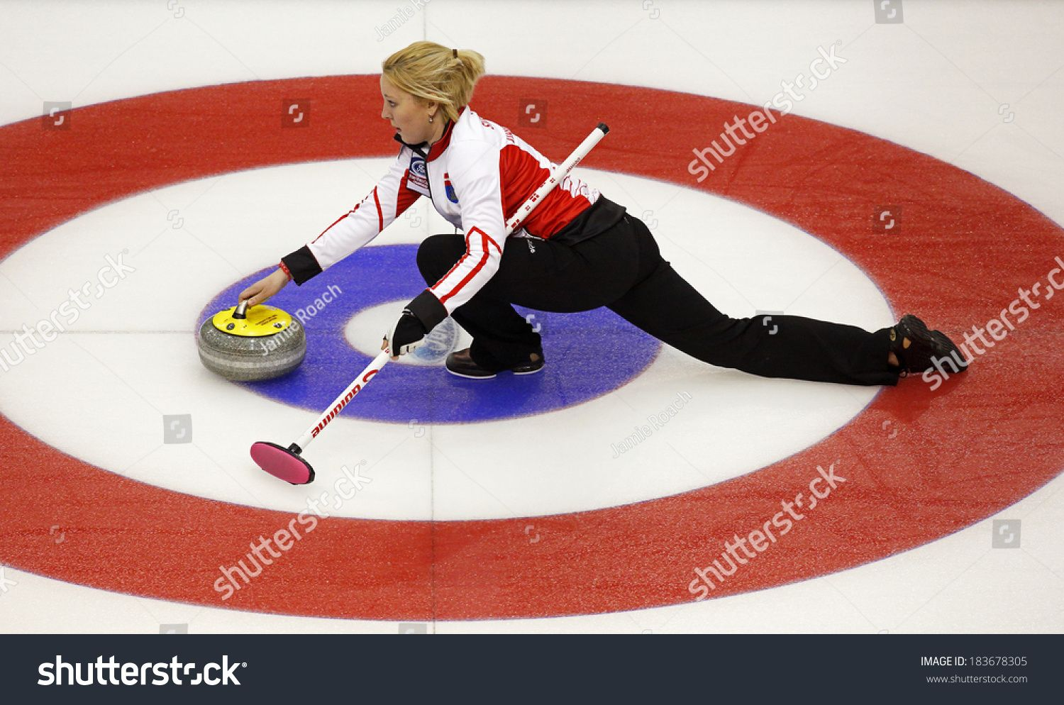 Saint John Canada March 19 Christine Svensen Of Denmark Slides Through The Rings On Her Stone Delivery At The Ford With Images St John Women S Curling St John S Canada
