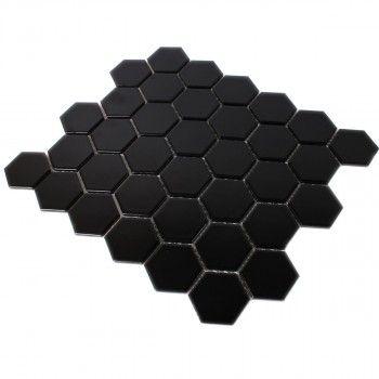 Keramik Mosaik Fliesen Hexagon Schwarz Matt TM Bad WC - Mosaik fliesen schwarz matt
