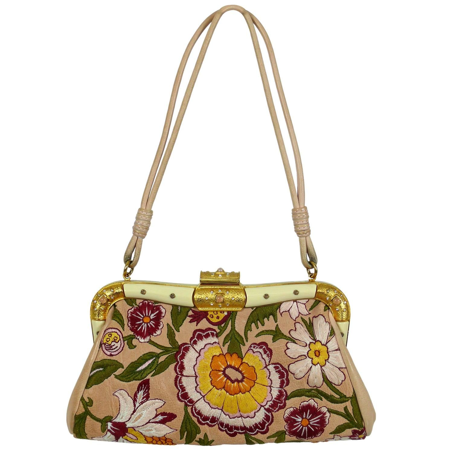 Garavani Embroidered Purse Vintage Valentino Clutch Leather avAnH