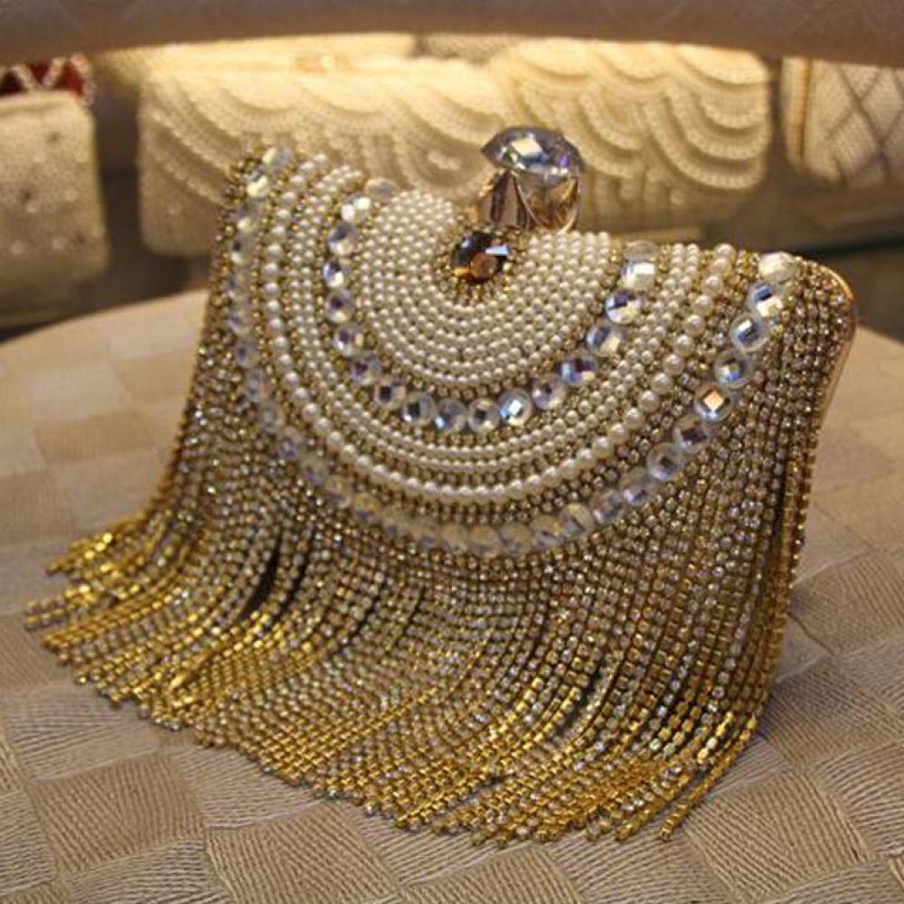 Heart Shaped Women Evening Bags Diamonds Metal Beading Day Clutch Small Chain Shoulder Handbags