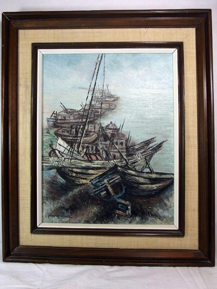 http://stores.ebay.com/mariasantiqueandvintage Vtg Korean Original Oil on Canvas Painting Wan Wang Fishing Boats Harbor Asian #Asian