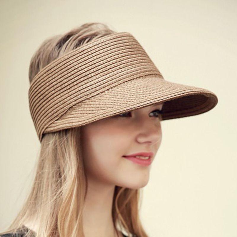 Verão Floppy chapéu de sol viseira de palha Chapéus de Praia Para As  Mulheres a91bd5ee264