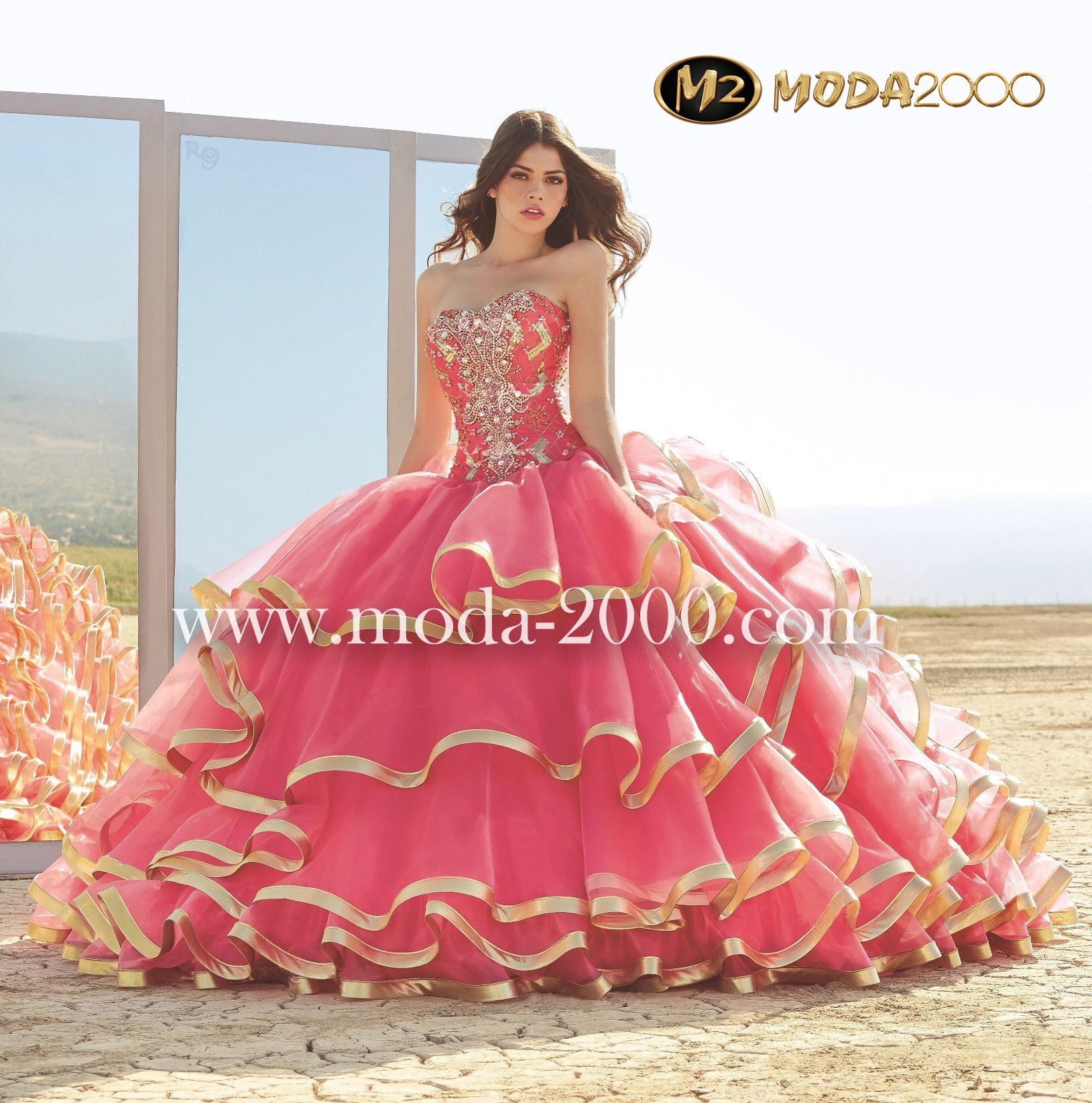 Bejeweled pink gold charro quinceanera dress