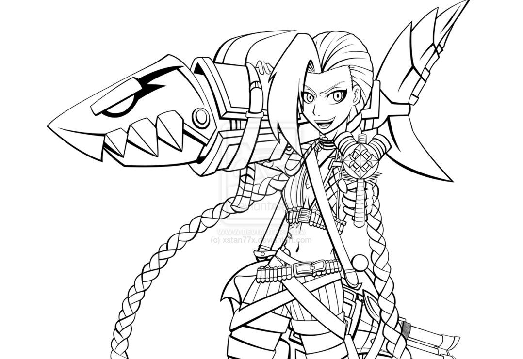 league of legends coloring pages - jinx league of legends coloring pages sketch coloring page