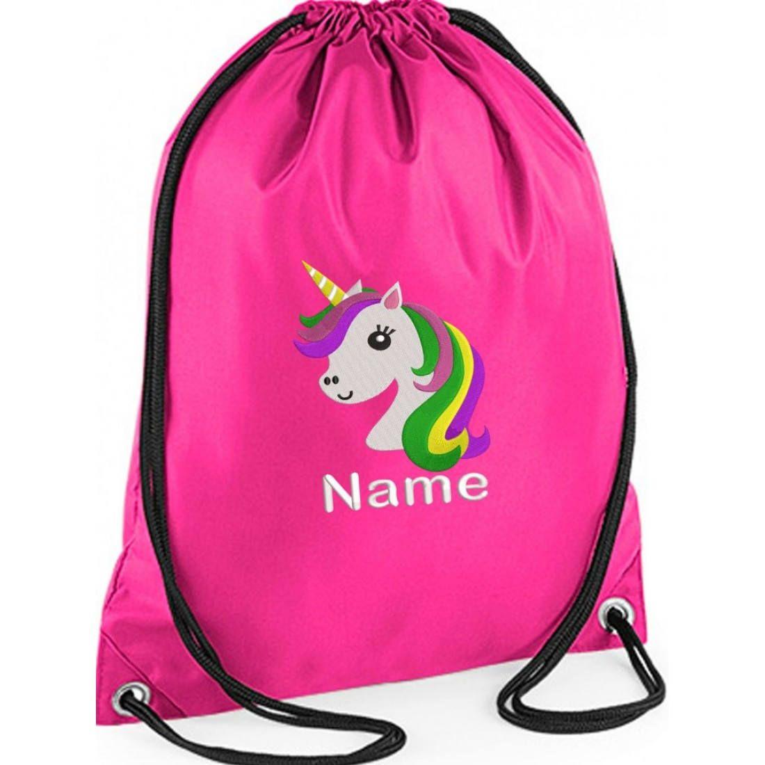 Personalised Name Drawstring Backpack Bag Girls Boy PE Gym Back to School Kids