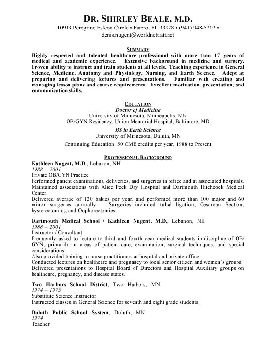 Medical Doctor Curriculum Vitae Example -   wwwresumecareer - doctor sample resumes