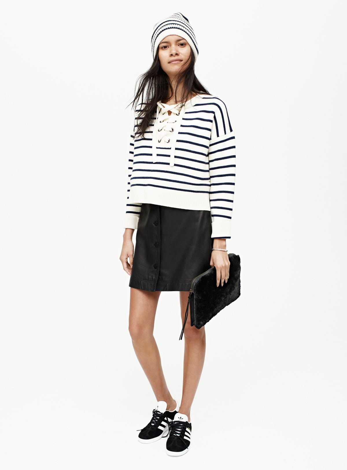 bf55dfd888265 madewell cashmere beanie worn with the striped lace-up sweater + leather  skirt. Love something you see  Pre-order your favorite pieces by calling ...