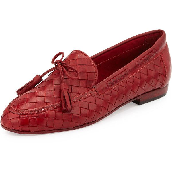 Sesto Meucci Nicole Woven Leather Loafer ($260) ❤ liked on Polyvore featuring shoes, loafers, red, lace up flats, flat pumps, almond toe flats, red loafers и tassel loafers