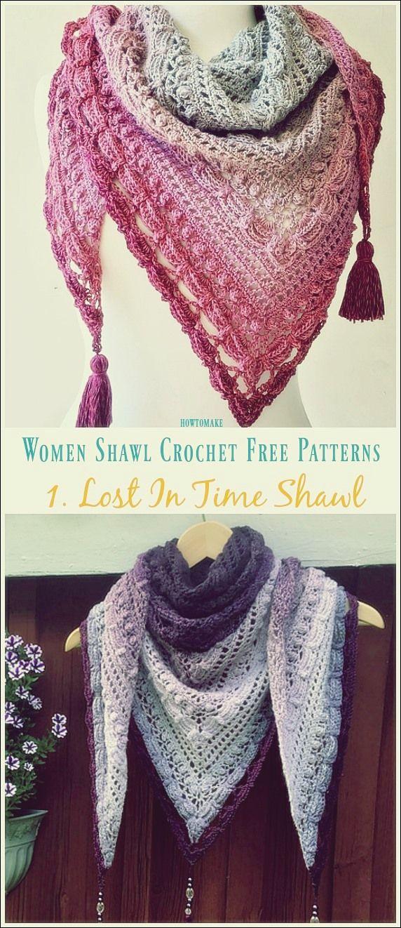 Lost In Time Schal häkeln frei Muster - Frauen Schal [No.1]   Free Patterns #shawlcrochetpattern