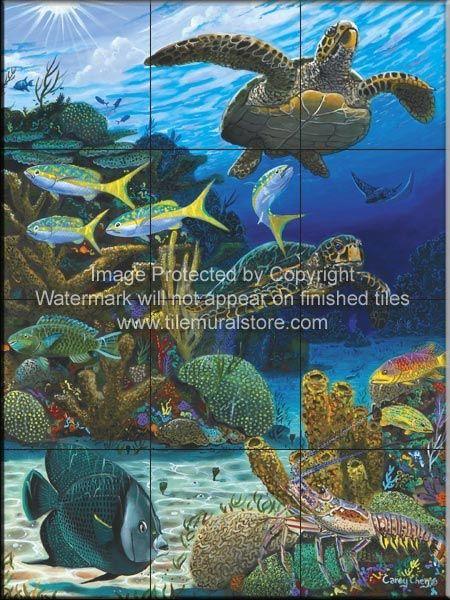 Decorative Wall Tile Murals Fair Decorative Wall Tiles  Sea Life Tiles  Caymen Turtles  Cc Decorating Inspiration