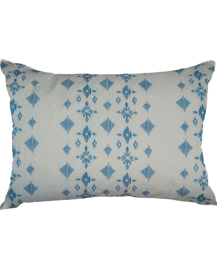 Cross Diamond Pillow Blue White Julias Kissen Blau Weiss Blau