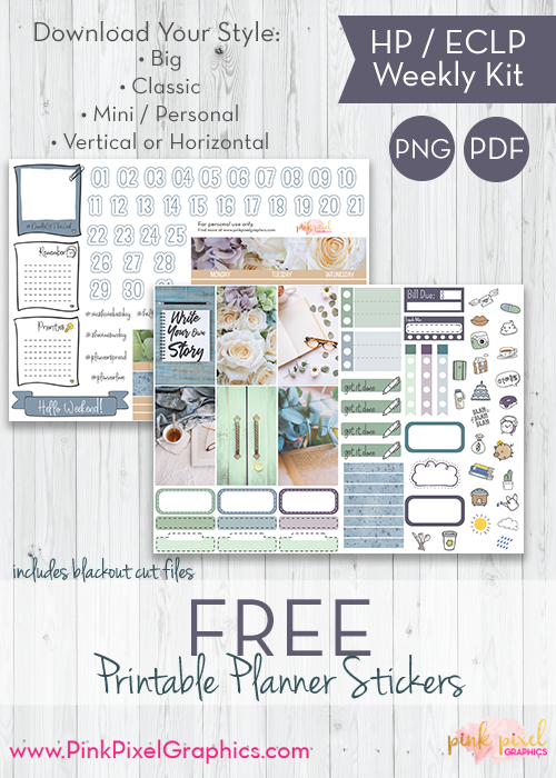 FREE Your Story weekly planner stickers: Download your free planner printable. These free kits will fit just about any planner. See more at www.pinkpixelgraphics.com