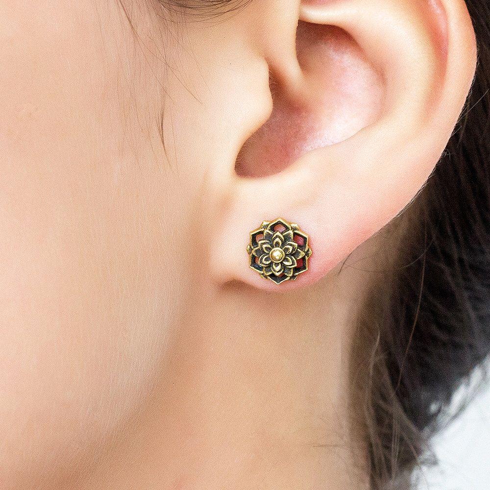 Flower Mandala stud earring. tribal earrings. flower earrings. mandala. lotus earrings. lotus stud earrings. mandala earrings. boho earrings by Umanativedesign on Etsy https://www.etsy.com/listing/259519588/flower-mandala-stud-earring-tribal