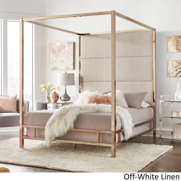 Evie Champagne Gold Metal Canopy Bed With Linen Panel Headboard By Inspire Q Bold Gold Bedroom Grey Bedroom With Pop Of Color Bedroom Design