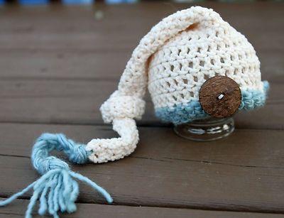 Crochet Stocking Elf Hat - Newborn - Photography Prop - Blue - Boy ...