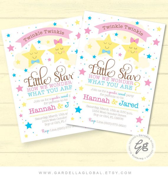 picture about Free Printable Twinkle Twinkle Little Star Baby Shower Invitations called Twinkle Twinkle Very little Star Gender Clarify Invitation, invite