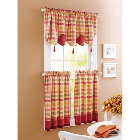 Better Homes And Gardens Red Check Window Tiers Walmart Com