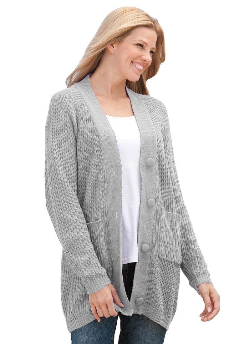 Woman Within Plus Size Shaker knit cardigan | Sweaters | Pinterest ...