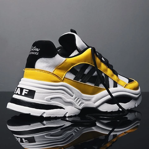 casual shoes men yellow sneakers black white walking