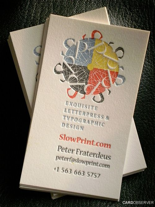Creative business cards flyer invitation letter pinterest fine letterpress business card gray and primary colors by slowprint reheart Gallery