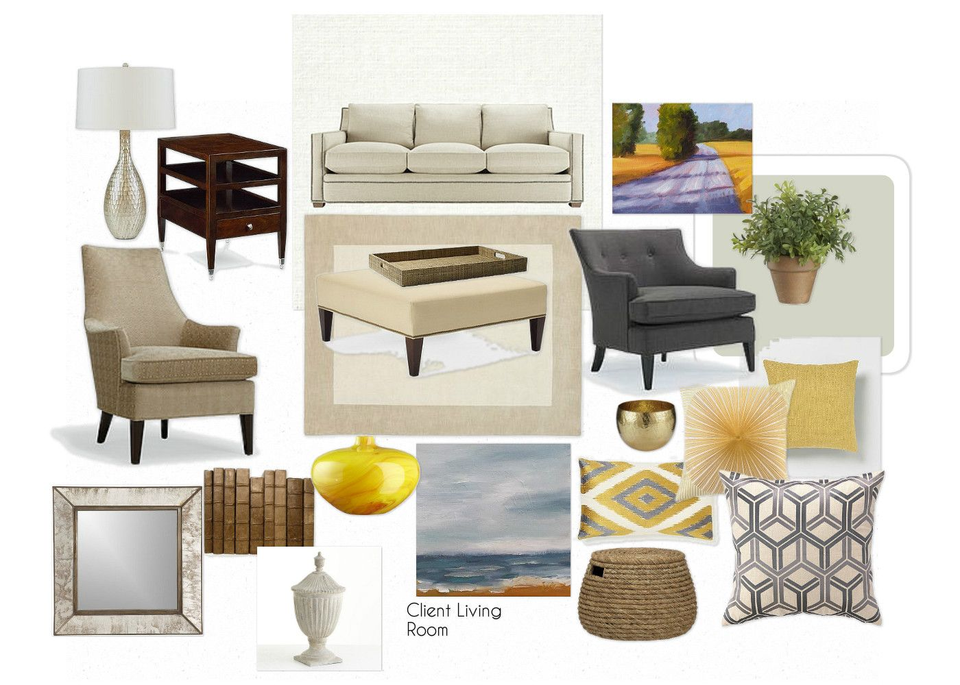 transitional living room board | simply modern home - mood boards