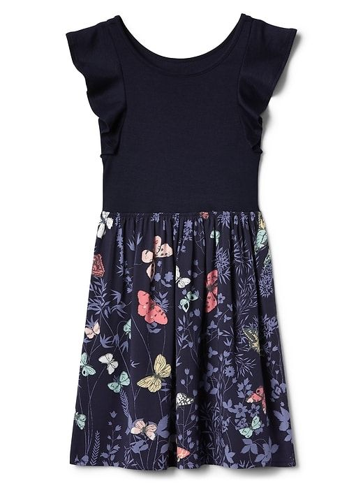 560310e760f Gap Girls Mix-Fabric Flutter Dress Dark Night Baby Dress
