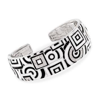 "Ross-Simons - Belle Etoile ""Geometrica"" .20 ct. t.w. CZ Black and White Enamel Bangle in Sterling Silver. 7"" - #845645"