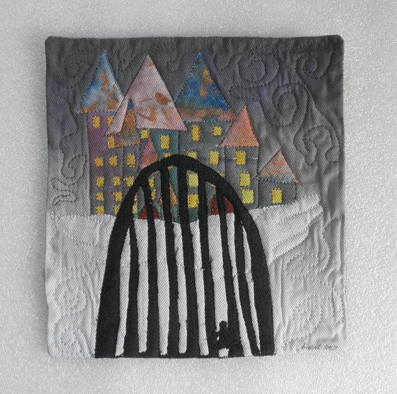 floating Dream Castle on a cloud mini quilt all by quiltartfabric