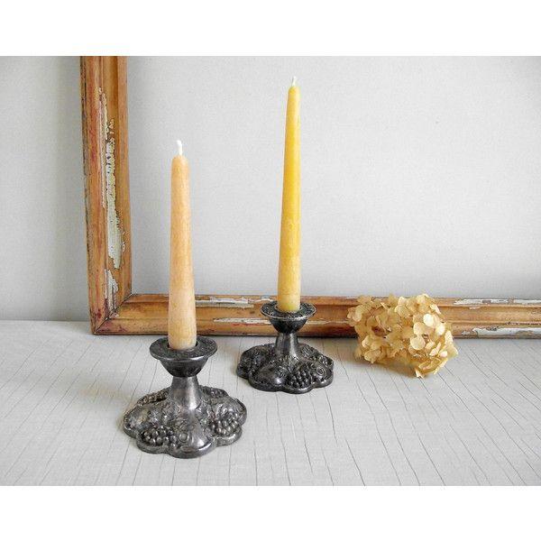 Ornate Silver Candlestick Holders Viking Silver Plate Candle Holders... ($36) ❤  sc 1 st  Pinterest & Ornate Silver Candlestick Holders Viking Silver Plate Candle Holders ...
