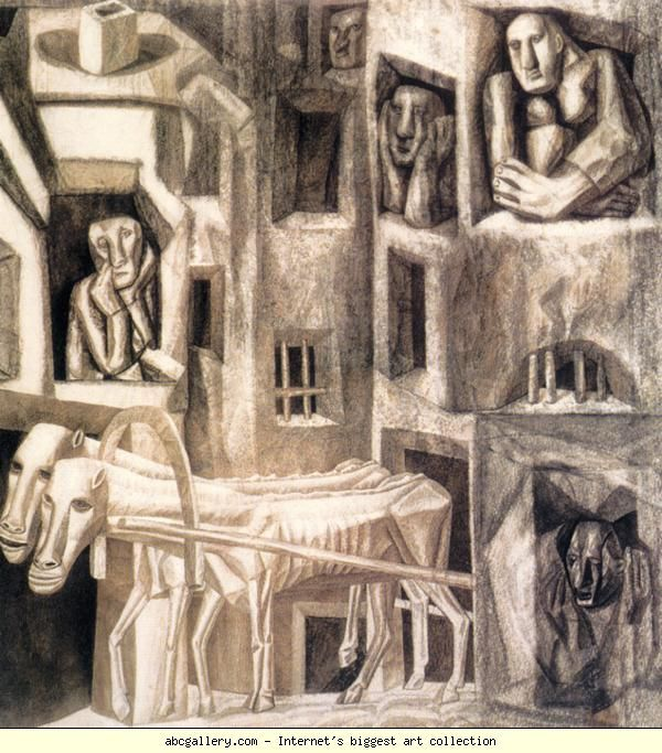 Pavel Filonov. Workers. 1915-16. The Pushkin Museum of Fine Art, Moscow, Russia.