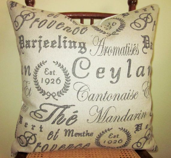 French Script Pillow Covers Tea House Black Linen Flax Accent