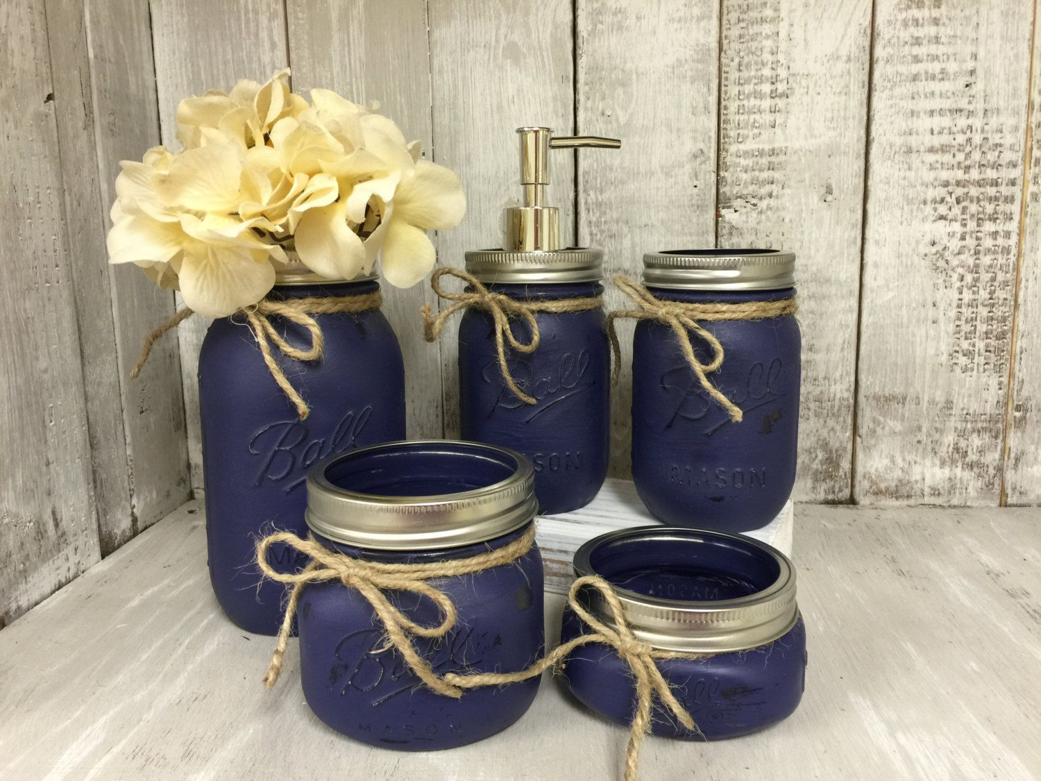 Mason jar bath set navy rustic distressed farmhouse for Bathroom decor mason jars