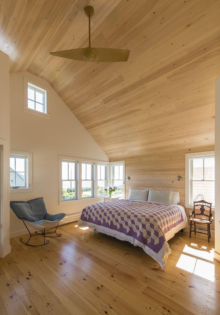 Master Bedroom Fan Wood Ceilings Corner Windows Knotty