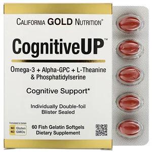 California Gold Nutrition Cognitiveup أوميجا 3 ألفا جليسريل فسفوريل كولين وثيانين وفوسفاتيديل سيرين 60 كبسولة هلامية جيلاتينية سمكية Discontinued Item Alpha Gpc Brain Nutrition Theanine