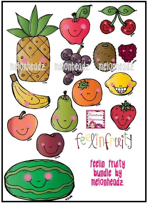 Feelin Fruity bundle by Melonheadz Clip Art Fruit