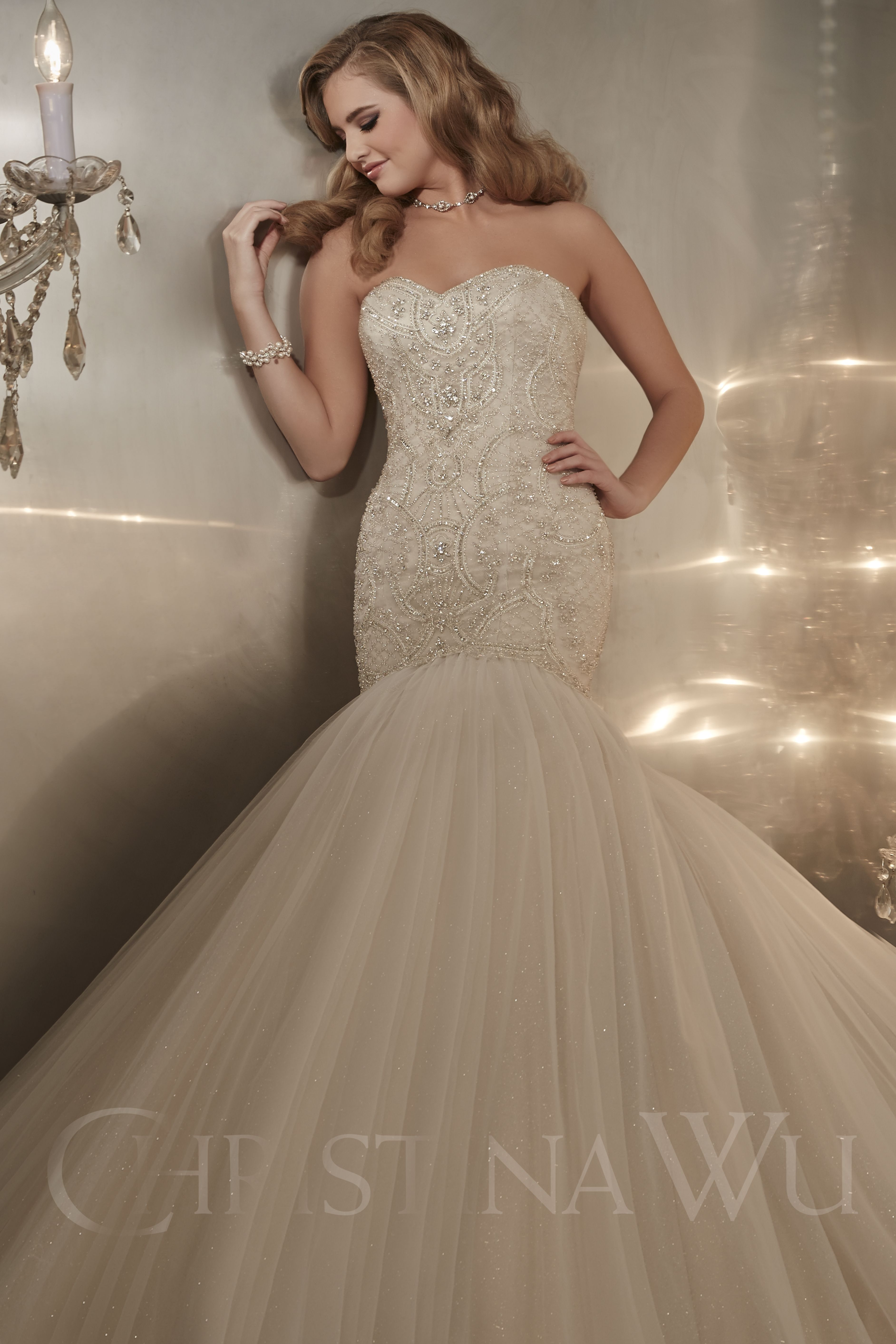 Christina wu style diamond tulle over satin with intricate