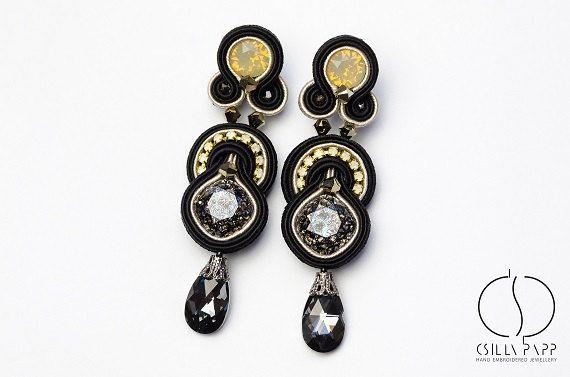 OOAK long size soutache earrings with Swarovski от CsillaPapp