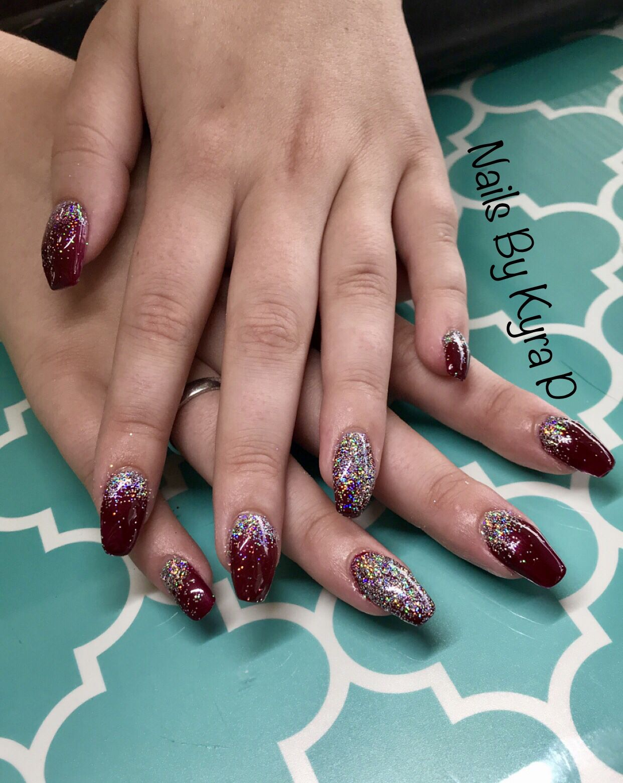Maroon Glitter Coffin Burgundy Acrylic Nails Prom Nails Red Maroon Nails