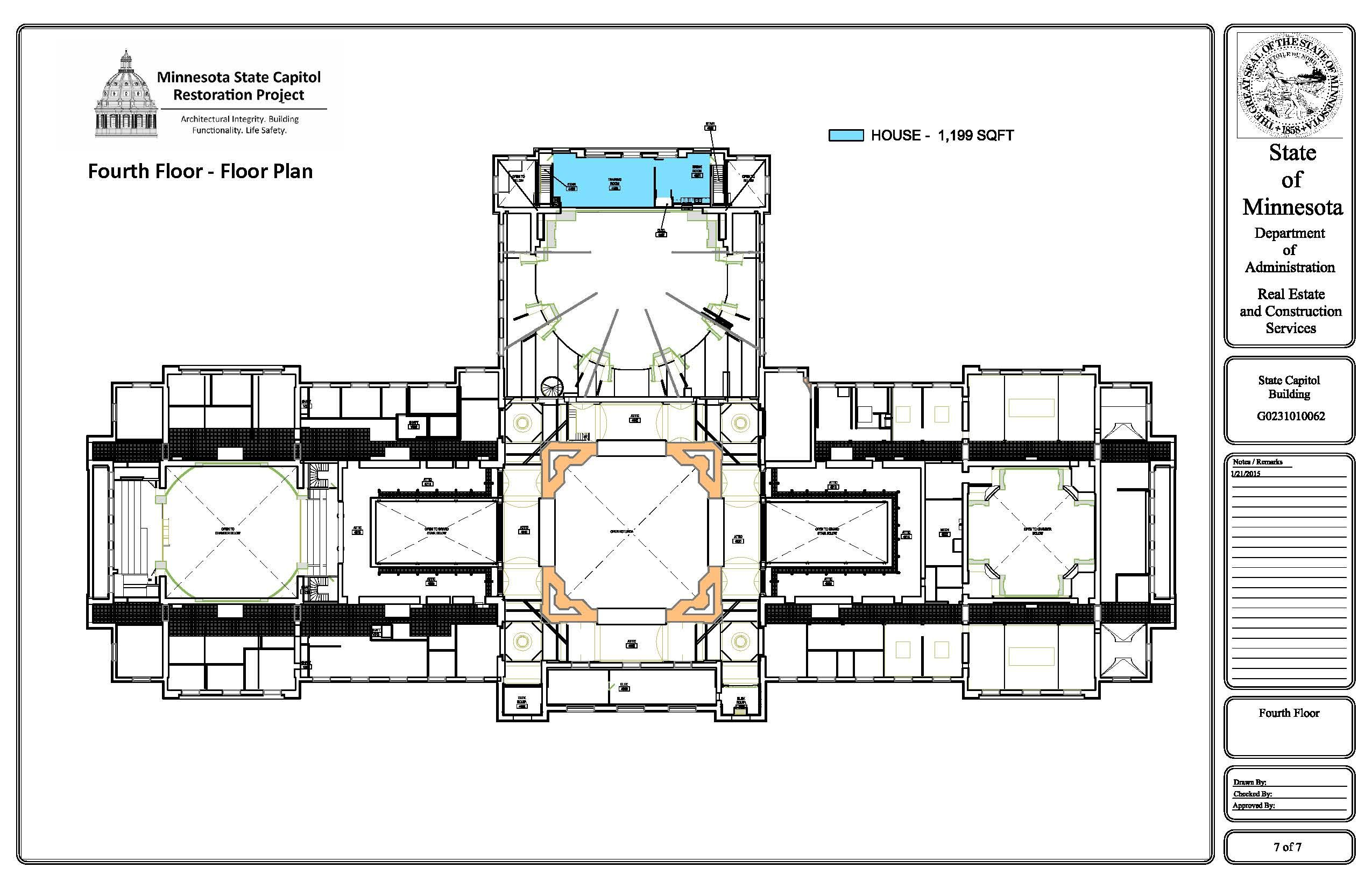 2015 Minnesota State Capitol Fourth Floor Future Occupancy Plan 2550 1650 Floor Plans How To Plan Flooring
