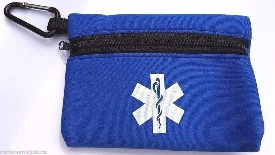 CARRY-ALL stretchable pouches with carabiner and neck strap BLUE STAR OF LIFE