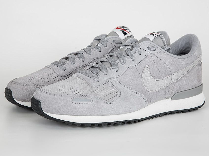 The Nike Air Vortex LTR shoe in a Metallic Silver Grey and White suede  effect finish