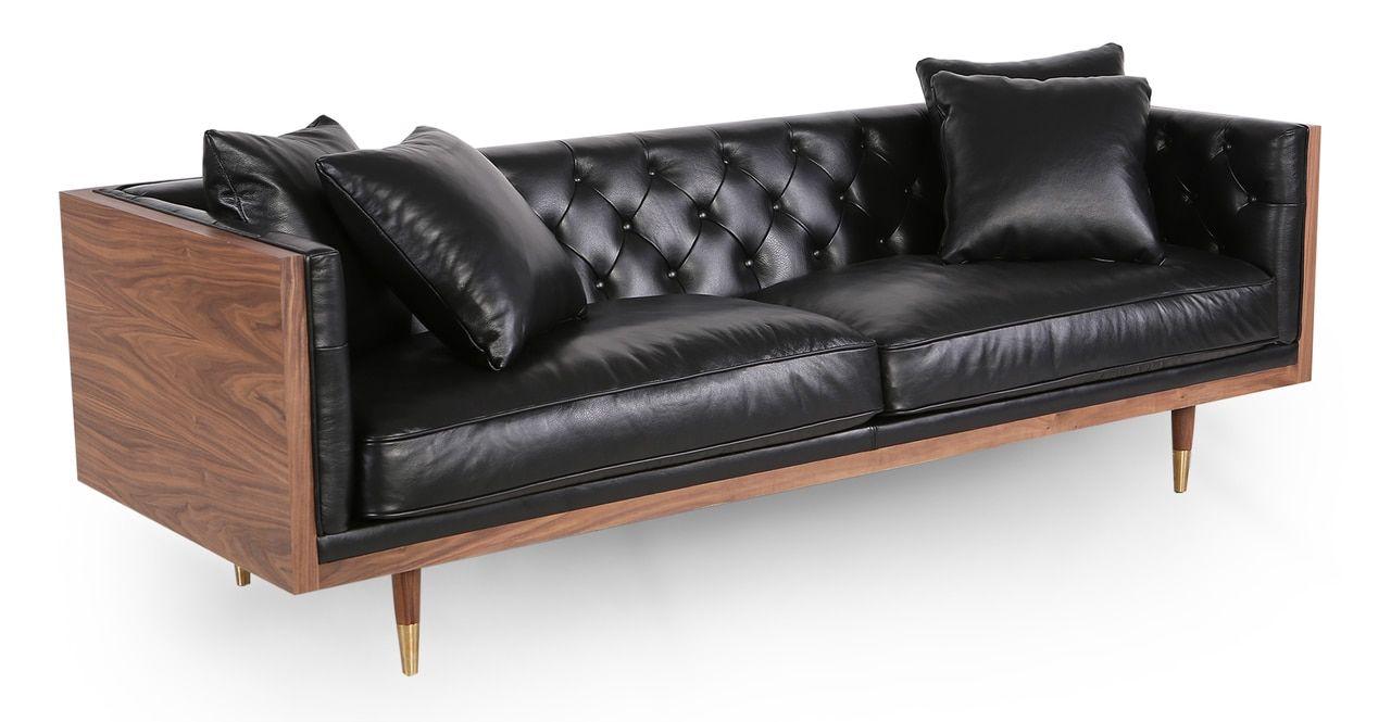 Woodrow Neo 87 Leather Sofa Walnut Black Aniline Leather Sofa Sofa Upscale Furniture