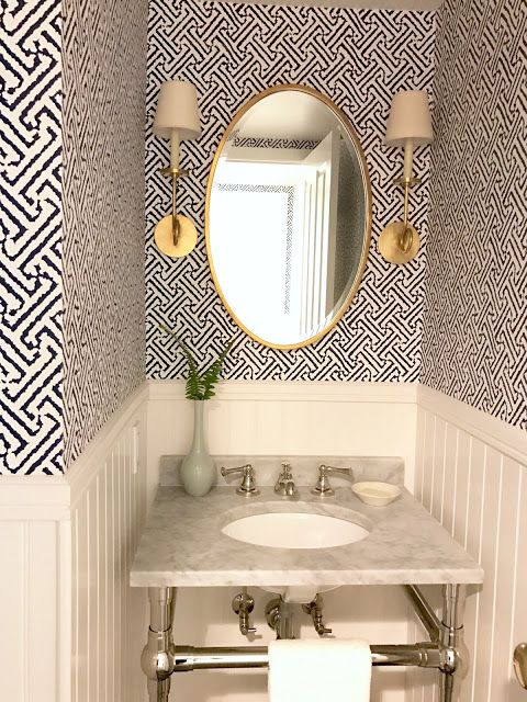 Classic Casual Home Fresh Indigo White Aged Brass Powder Room And Laundry Room Before And After Powder Room Decor Powder Room Small Powder Room Design