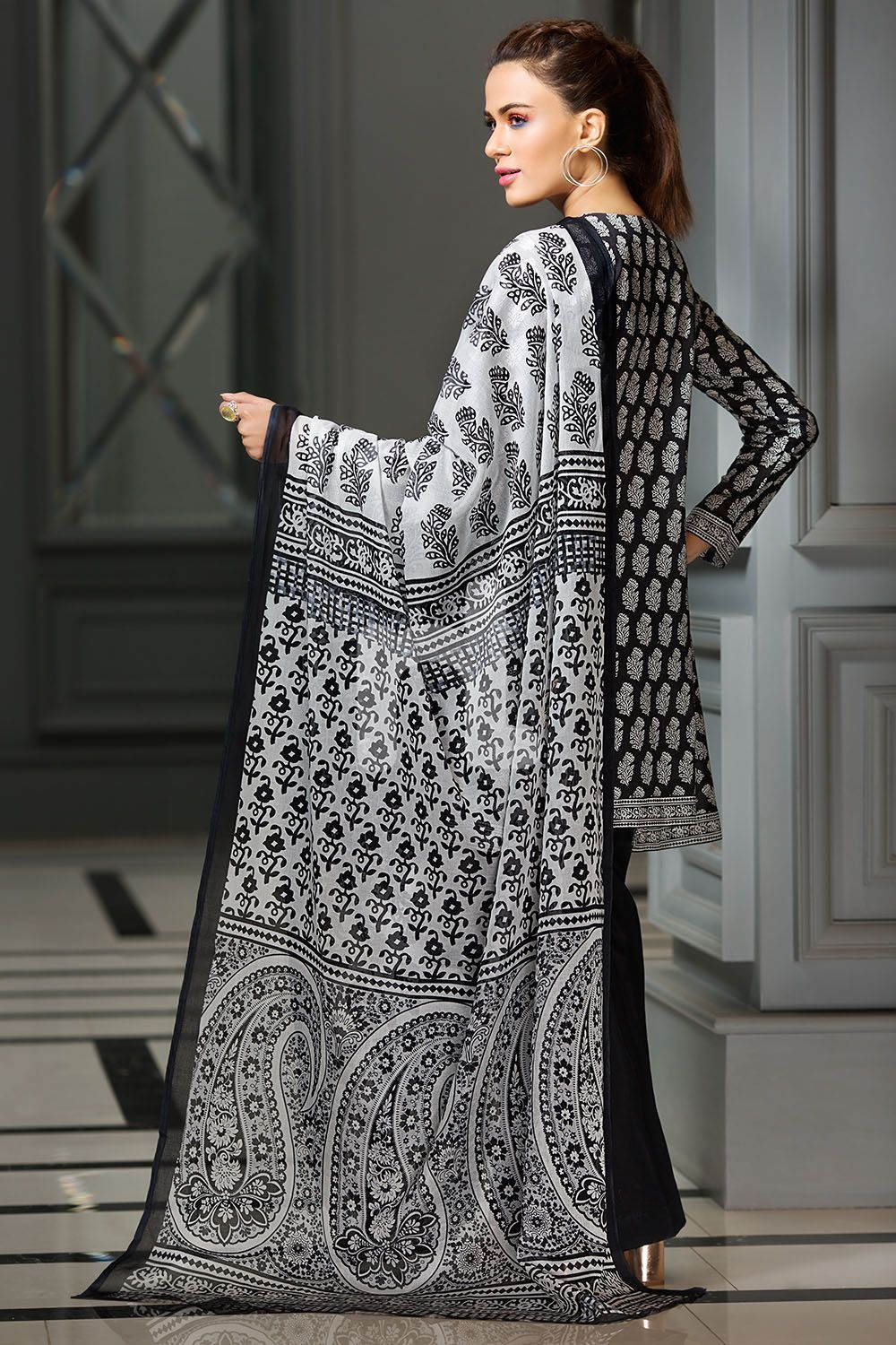 cdde6a7afe5 Bold and elegant black colored three piece unstitched lawn dress by Nishat  Linen Printed dresses collection 2018 wintercollection  blackfriday   readytowear ...