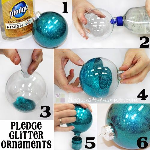 Easy 6 Step Pledge Glitter Ornaments #cricutcrafts