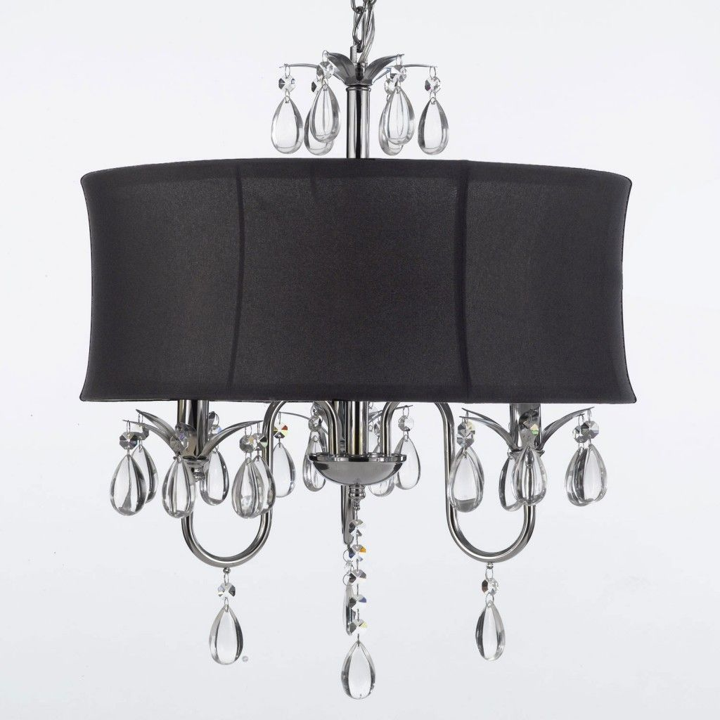 Title Crystal Swag Plug In Chandelier With Large Black Drum Shade 3 Light Comes Of Chain Wire This Item A Kit