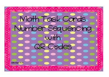 Number Sequencing Math Task Cards with QR Codes Math