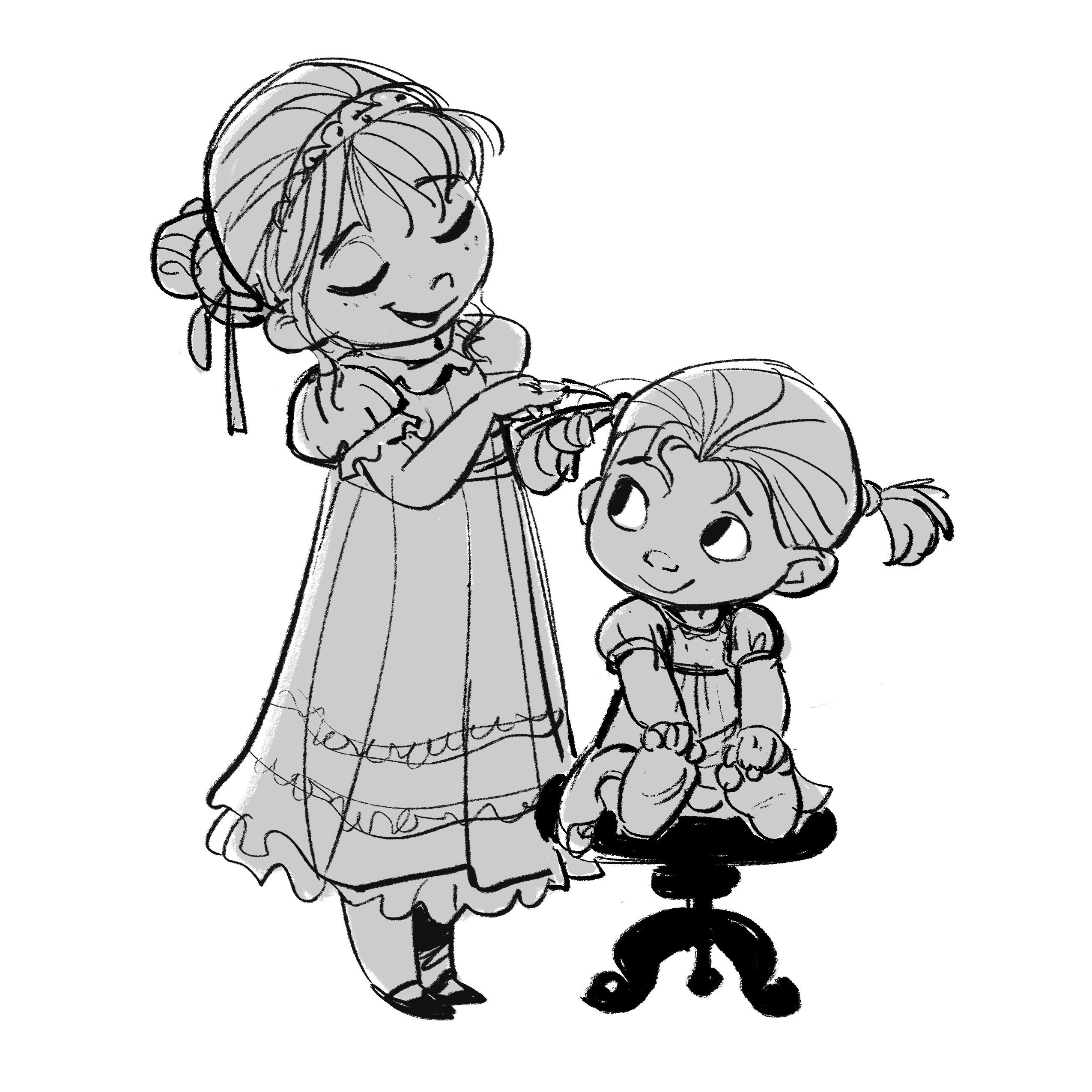 Disney Character Design Books : Young elsa anna illustration kids pinterest